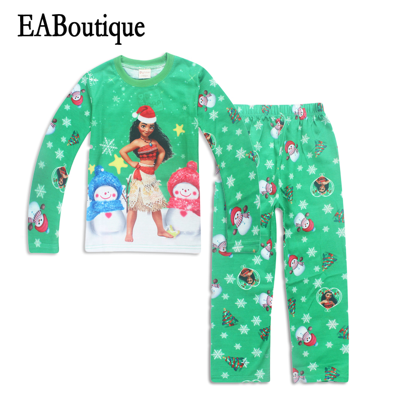EABoutique winter cartoon snowman pattern moana christmas pajamas long sleeve pajamas for girls for age 3-10 years old