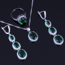 Adorable Oval Green Cubic Zirconia White CZ 925 Sterling Silver Jewelry Sets For Women Earrings Pendant Chain Ring V0034