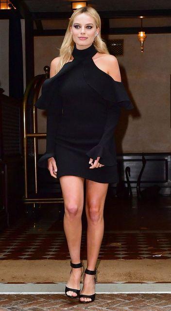 2017 Sexy Inspiriert durch Margot Robbie Celebrity Dress Schwarz ...