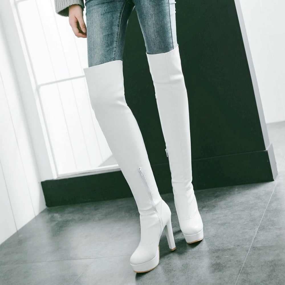 Kadın Streç çizmeler Uyluk çizmeler Platform Yan Fermuar Kare Diz Üzerinde Yüksek Topuk Ayakkabı Kadın Siyah Beyaz Kahverengi