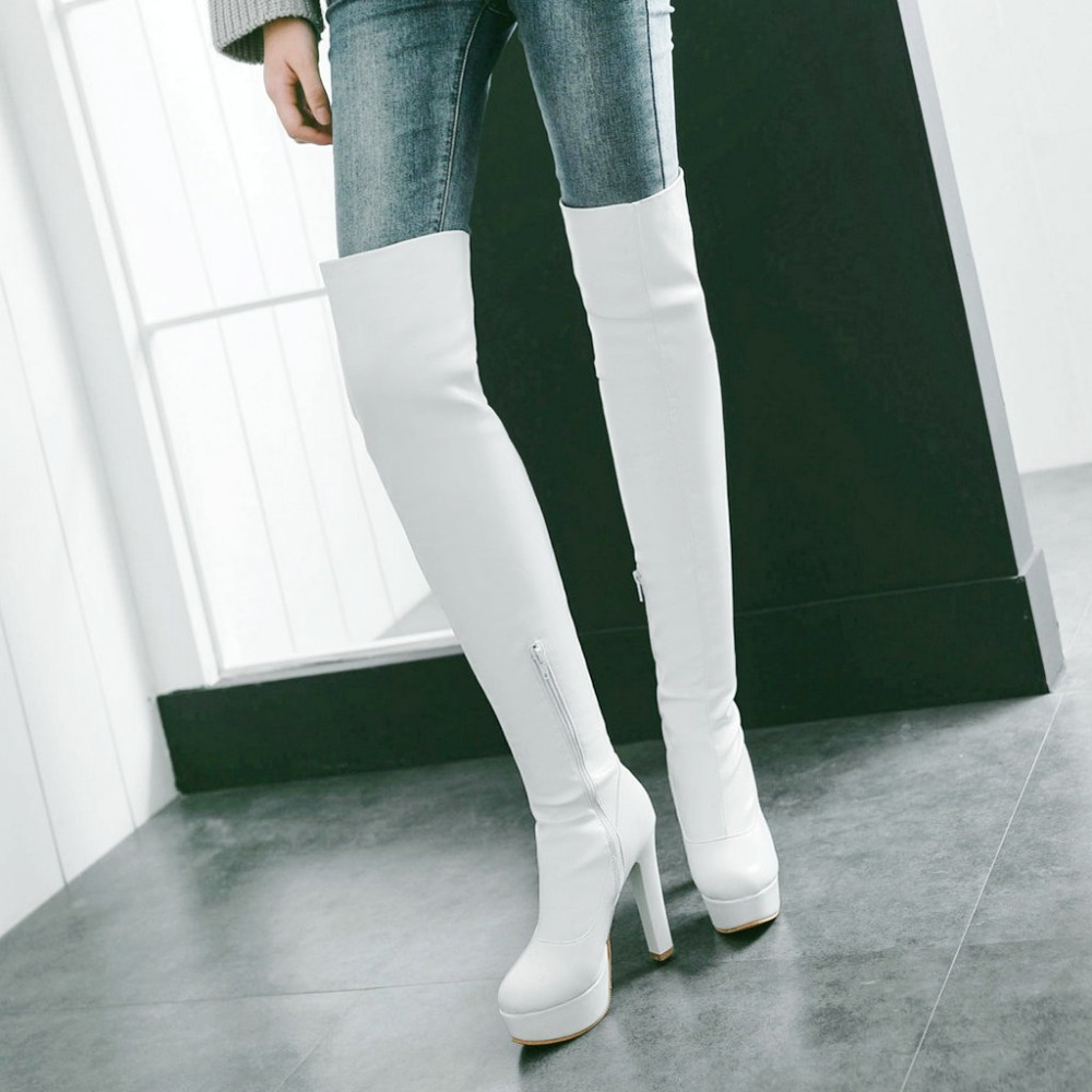 Women Stretch boots Thigh boots Platform Side Zipper Square High Heel Over The Knee Shoes Woman Black White Brown women platform chunky high heel over the knee boots side zipper winter warm thigh boots fashion woman shoes white black