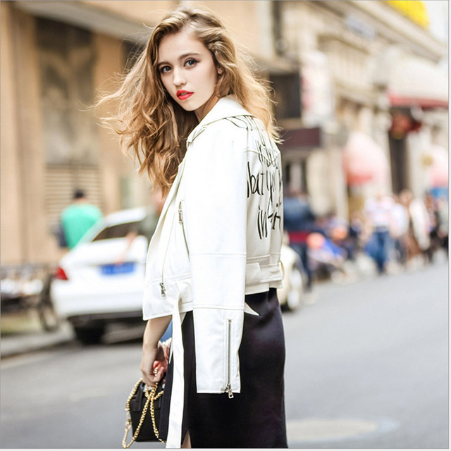 2016 New Spring Fashion White Color Letters PU Leather Jacket for Women With Sashes and Epaulet Outwear veste en cuir femme 1609