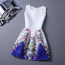 Brand Women Summer Autumn Vest Dresses Elegant Office Ladies Work Dress Vintage Print Sleeveless A Line