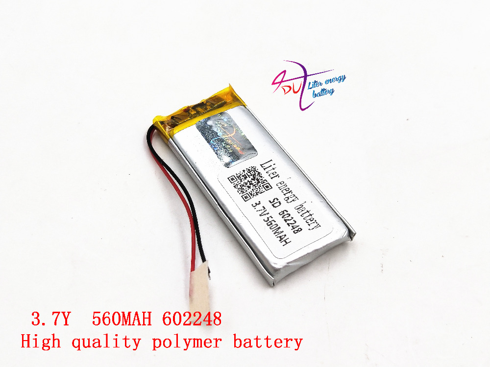 3.7V 560mAh 602248 Lithium Polymer Li-Po Rechargeable li ion Battery For Mp3 MP4 MP5 GPS Vedio Game toys