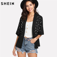 SHEIN Summer Top Kimono Spring 2018 Casual Womens Clothing Black Half Sleeve Open Front Pearl Beaded