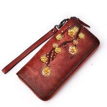 GENMEO New Genuine Leather 3D Wintersweet Pattern Wallet Women Cowhide Clutch Bag Female Coin Purse Bolsa Feminina