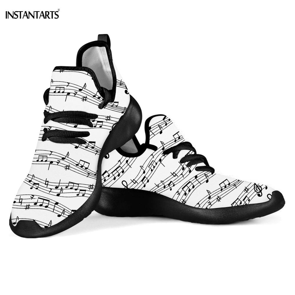 INSTANTARTS 3D Music Notes Pattern Running Shoes Woman Man Summer Sports Light Sneaker White Adults Outdoor Flying Woven Shoes