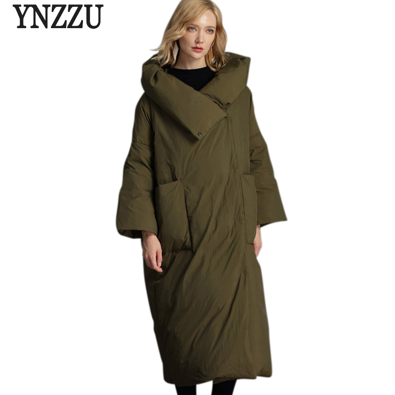 Brand Plus Size 2018 Winter Jackets Women Fluffy Duck   Down     Coat   Women Vintage Long Warm Hooded Loose Female Snow Outwear AO675