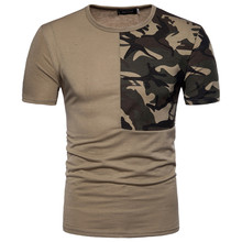 New mens brand T-shirt fashion design top casual stitching camouflage short-sleeved high-quality cotton