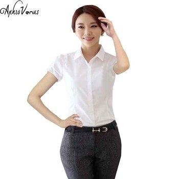 1dff4e9e2028 Las mujeres de calidad superior de manga corta de gasa camisa mujeres  Chiffon Camisas blanco Turn-down Collar blusa Color sólido Delgado fit Blusa