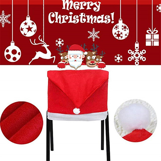 0a2ec9f7be104 Santa Hat Chair Covers Santa Clause Red Hat Chair Back Covers Kitchen Chair  Covers Sets for Christmas Holiday Festive Decoration
