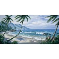 Hand Painted contemporary art coastal landscapes palm tree Oil painting canvas Paradise wall decor High quality
