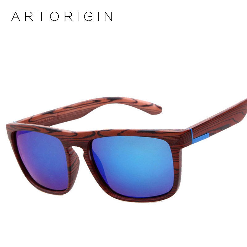 ARTORIGIN Texture Wood Sunglasses Men Women Brand Designer Square Mirror Sun Glasses Female Oculos De Sol lunette
