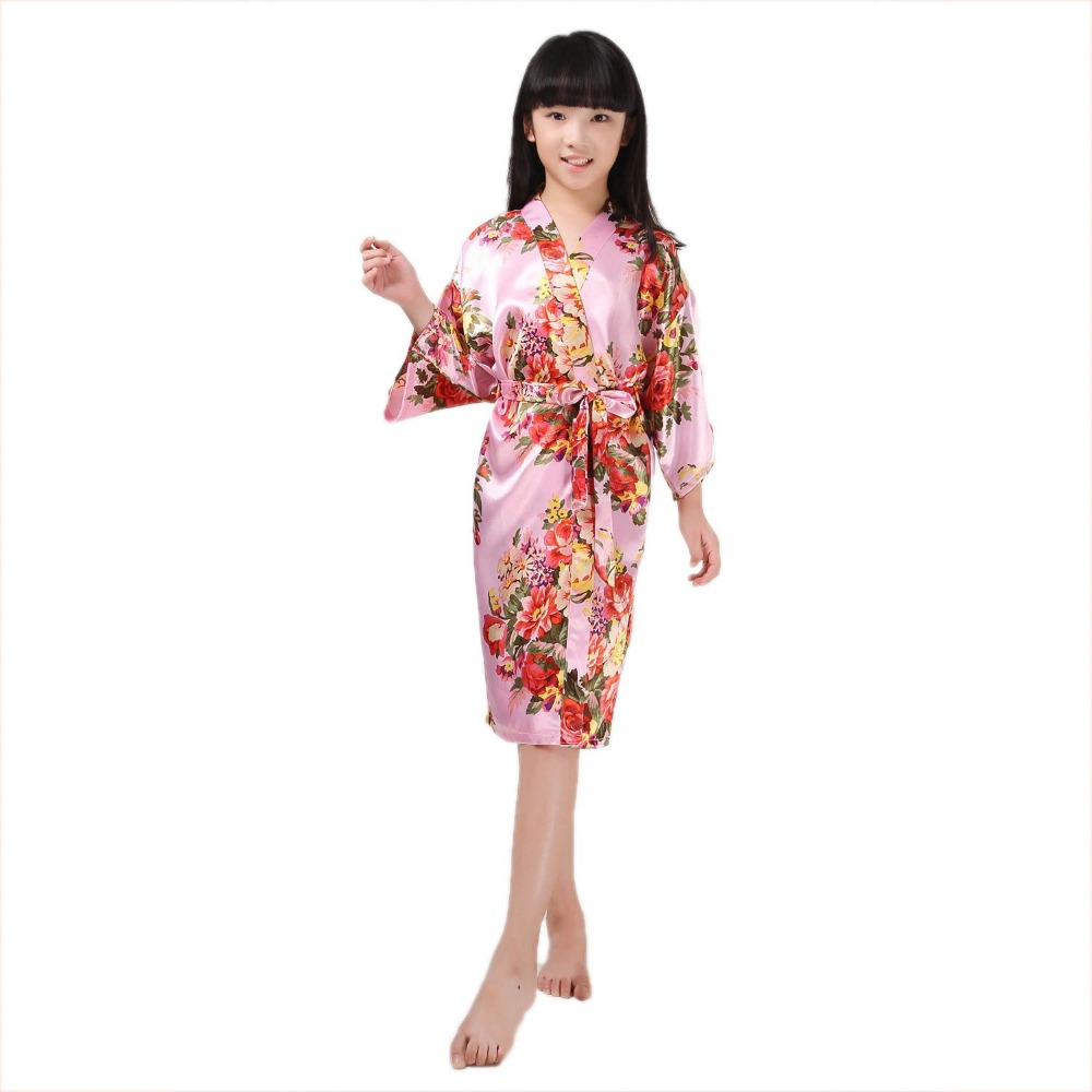Kids Satin Rayon Kimono Robe Floral Print Flower Bathrobe Children Nightgown Sleepwear Dressing Gown