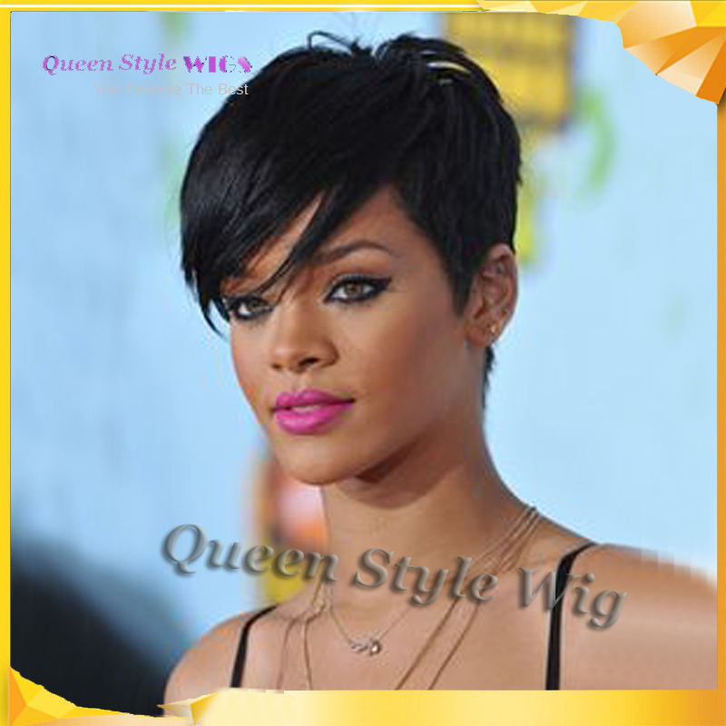 Hot Rihanna Short Hairstyle Wig Synthetic Black 1b Color Short