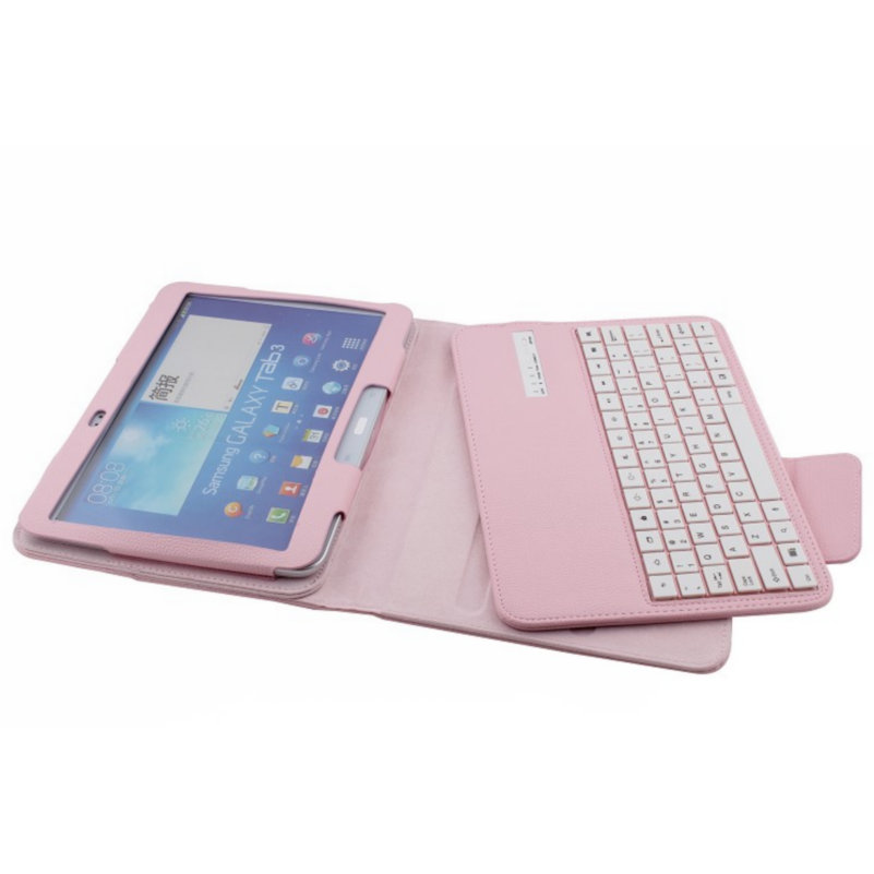 Wireless Bluetooth Keyboard Tablet Case For Samsung Tab.3 10.1 P5200 T530 English Russian Language Keyboard Stand Case Cover