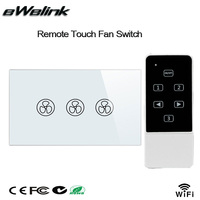 AU US Standard 120 Style Remote Control Ceiling Fan Switch Crystal Tempered Glass Panel RF 433MHz