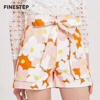 Для женщин бурлящие штаны с Высокая Талия Лето Для женщин шорты с цветочным принтом Шорты для Для женщин с поясом