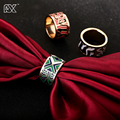 R&X Foreign Trade Exports Europe Fashion Chain Scarves Buckle Gold-Plated Stainless Steel Ring Enamel Jewelry Wholesale