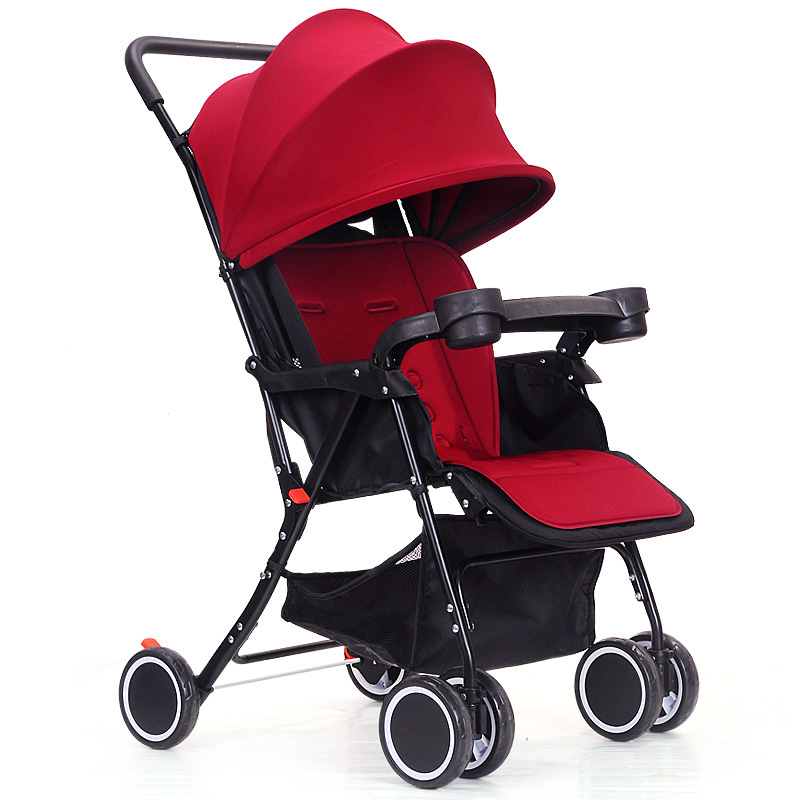 Breathable Net Can Sit Lie-down Baby Cart Portable Ultra Light Umbrella Car Shock Absorber Small Baby Stroller with Dining Plate