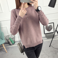 Winter 2017 Korean Version Of The New Short All Match Sweater Coat Loose Knit Shirt Sleeved