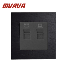 MVAVA Wall Internet And Fone Outlet 86*90MM Black Wooden Series Panel Telephone And Computer Socket TEL & COM Wall Plug Socket livolo manufacture grey glass panel 2 gangs wall computer and tv socket outlet vl c791vc 15 without plug adapter