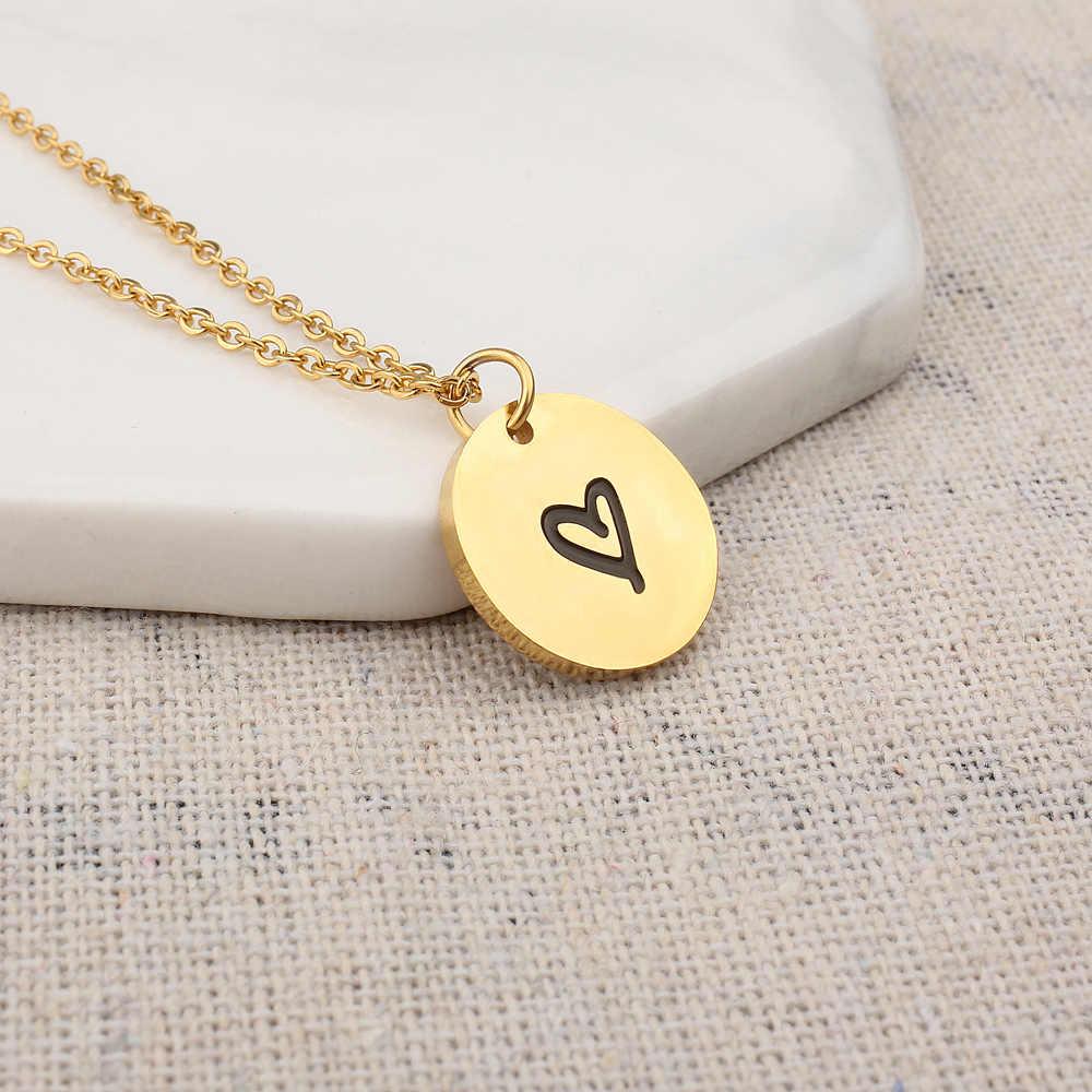 FINE4U N250 Милая круглая монета Подвески ожерелье s Нержавеющая сталь цепь ожерелье выгравированное сердце любовь ювелирные изделия дропшиппинг