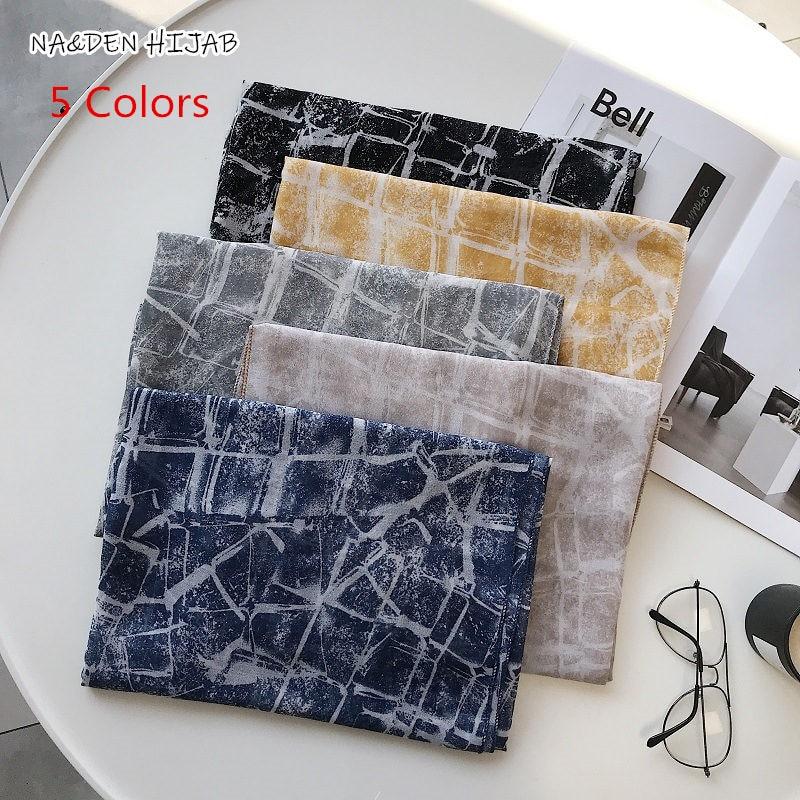 NEW 5 Colors Geometric grid print hijab Hot sale plain solid color scarf scarves fashion Muslim