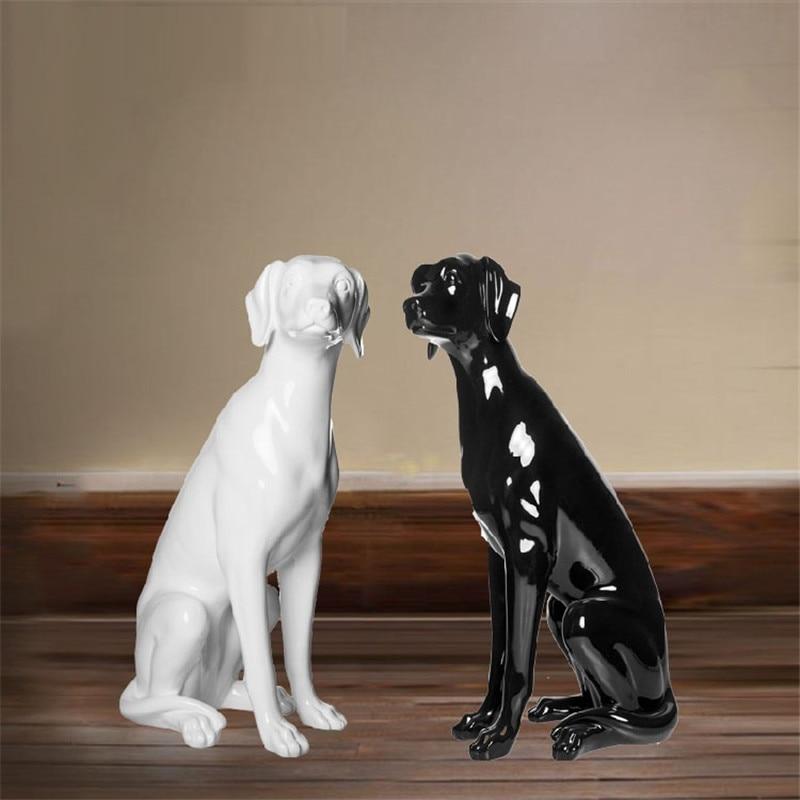 Montrer la fenêtre Labrador Retriever Figurines Animal de compagnie chien Statue Animal brillant blanc GFRP résine artisanat accessoires de décoration de la maison R1090