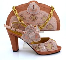 Wholesale African Shoes And Bags For Party And Wedding Italian Shoe And Matching Bag Set With Stones Peach Color MM1008