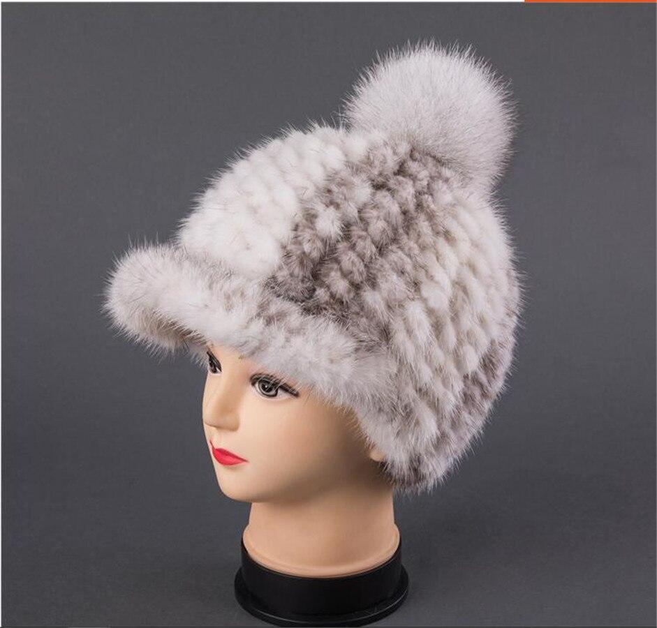 Для женщин натуральный мех норки вязаная шапка Зима Snapback шапки chapeau femme, дамы помпоном Бейсбол Шапки бейсболки