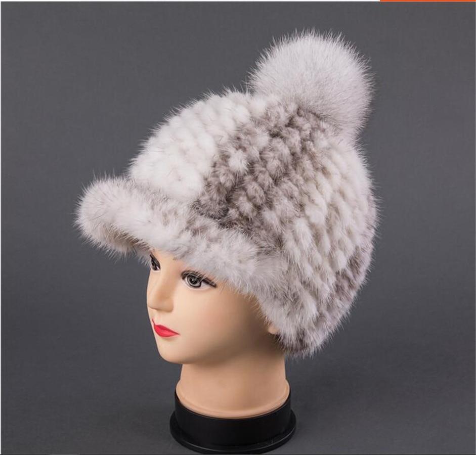 Women Real Mink Fur Knitted Hat Winter Snapback Caps chapeau femme , Ladies Pompom Baseball Hats Knight Hats