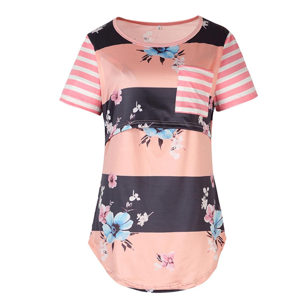 maternity nursing clothes Women Pregnant Nursing Short Sleeve Stripe Print Patchwork Flower Tops T-shirt ropa maternidad A1