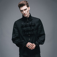 Devil Fashion Victorian Men's Gothic Flounce Tie Shirt Punk Black White Tuxedo Shirts with Lace Cuffs Male Silk Blouses Top