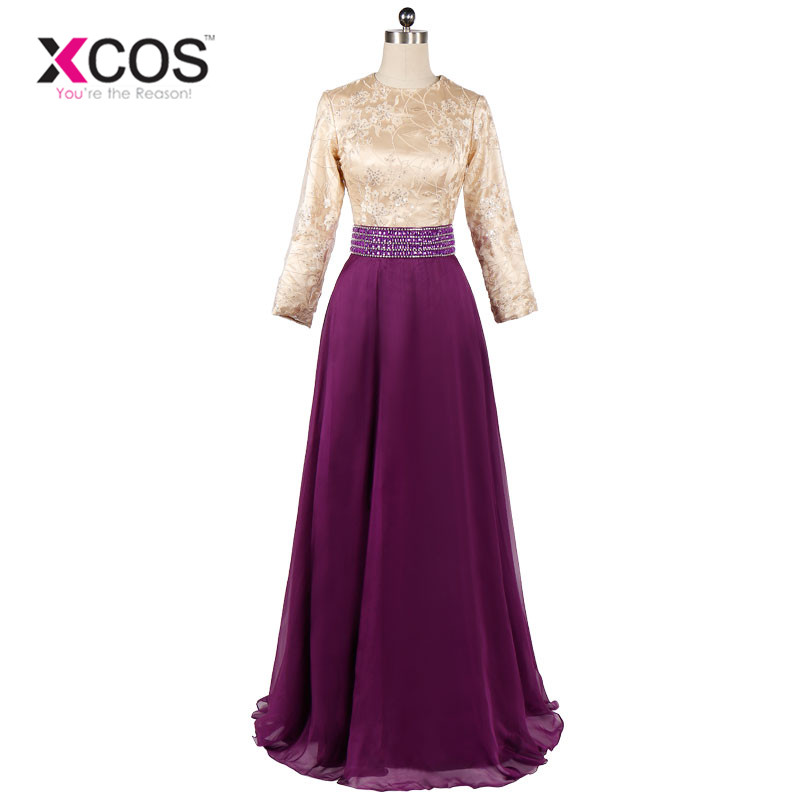 Long Sleeve Muslim Prom Dress Bow Purple Lace Dubai Moroccan Kaftan Hijab Evening Dresses SA712