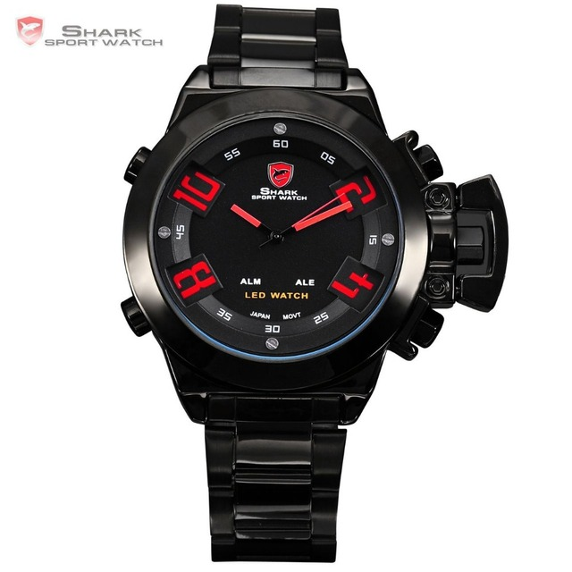Great White SHARK Sport Watch Big Analog Digital LED Dual Time Alarm Mens Red Number Black Steel Band Wrist Gift Watches / SH031
