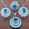 Diseño de la flor Del Cielo Azul Cubic Zirconia Pendientes Colgante de Collar de Sistemas de La Joyería de Plata de Las Mujeres Anillos Envío Gratis TZ023