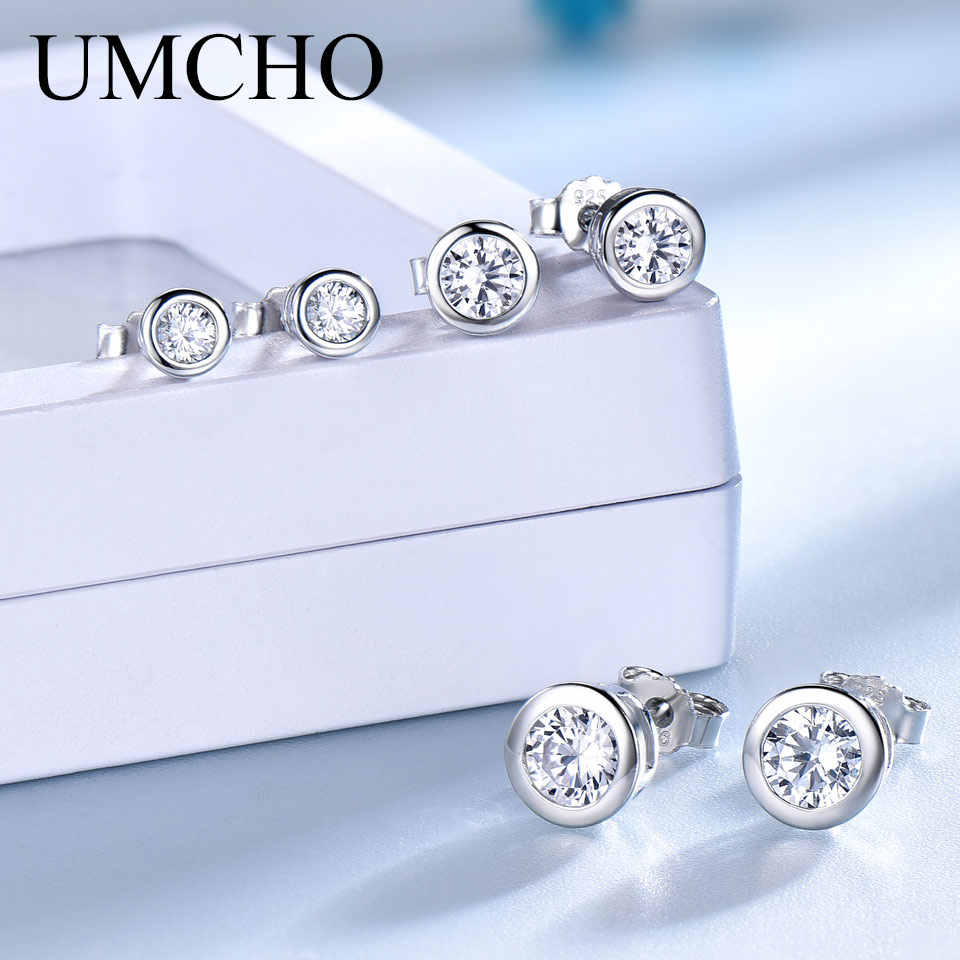 UMCHO Real 925 Sterling Silver Jewelry Stud Earrings For Women Elegant Anniversary Wedding Gifts Fine Jewelry High Quality