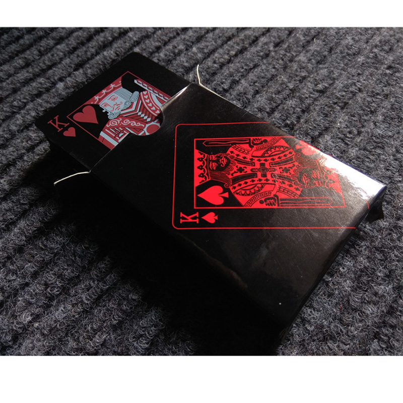 Quality Waterproof Black Plastic Playing Cards Collection Black Magic Poker Creative Gift Standard Playing Cards in Playing Cards from Sports Entertainment