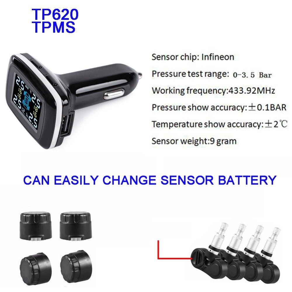 TP620 système de surveillance de la pression des pneus numériques 12 V TPMS alarme de pression des pneus alarme de pression des pneus chargeur de voiture capteur de pression des pneus - 4