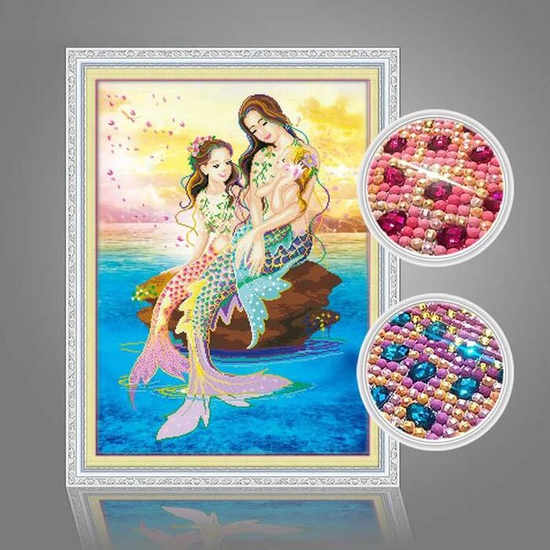 diamond embroidery 3D square diamond painting mermaid cartoon 5D home decoration cross stitch Christmas Special shape diamond mosaic