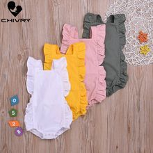 Chivry Baby Girls Bodysuit Summer Ruffles Sleeveless Solid Cute Jumpsuit Newborn Playsuit Infant Clothing