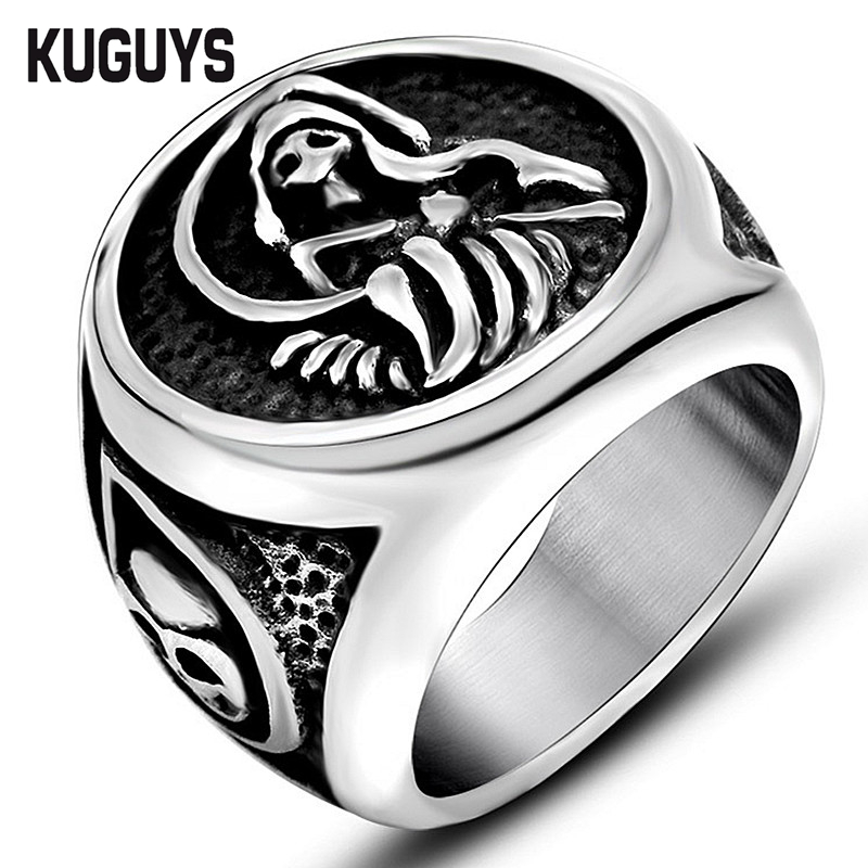 stainless skull product ring steel man club classic for s new double men store motorcycle biker snake engine rings online retro animal with