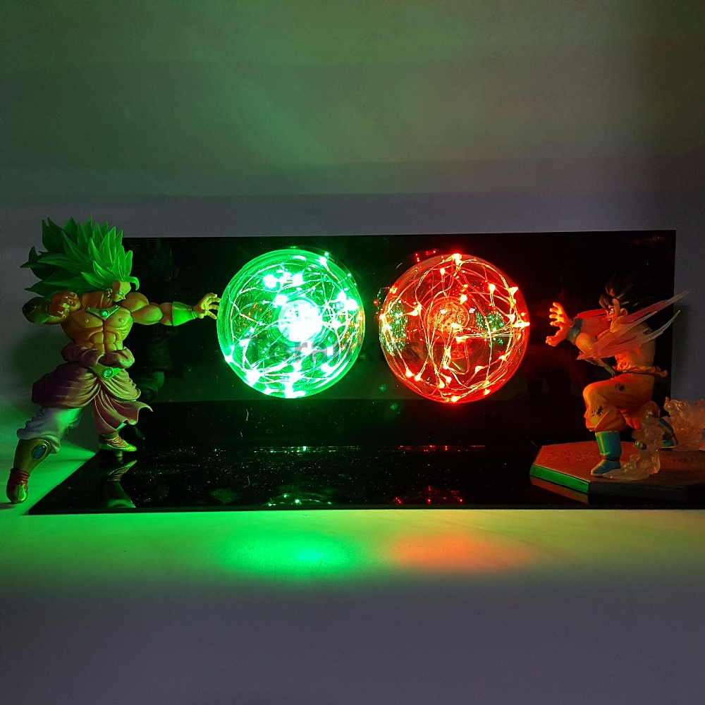 Dragon Ball Z Son Goku VS Broly Scene Anime Dragon Ball Super Figurine Toy Action Figures Super Saiyan DBZ Led Light anime dragon ball z super saiyan rose son goku black gk resin action figures