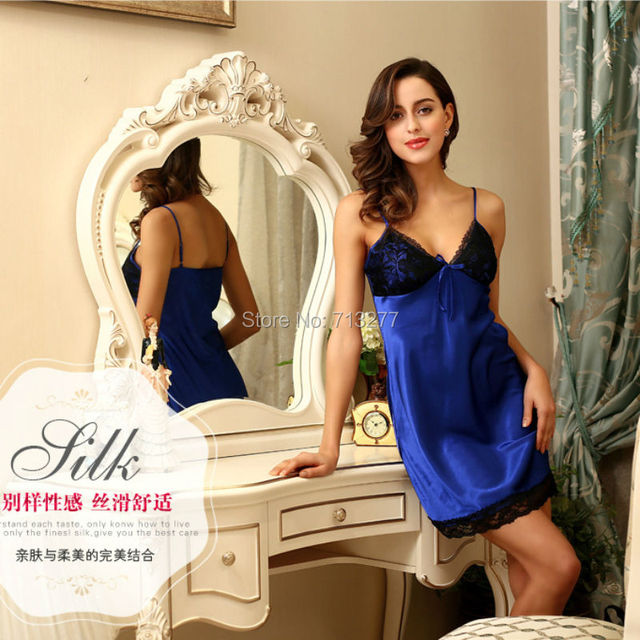 SSH028 Women Summer Nightdress Lady DEEP V Sleepwear Silk Sexy Strap Nightgown Fashion Lace Pijama Pyjama Nightwear for Women