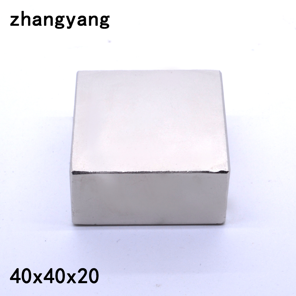 1 pz 40*40*20 Forte della Terra Rara Magneti Al Neodimio 40X40X20mm Blocco Permanente magnete 40x40x20mm metallo