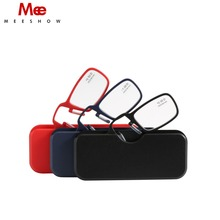New reading Lightweight Mini Nose Clip On Resin Lens Reading Glasses TR90,power +1.0-+3.5 Portable Wallet Reader With Case 1575