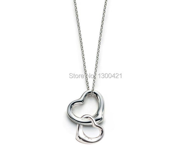 7a082694e Free shipping wholesale brand new fashion 925 sterling silver women Elsa  Peretti Double open heart Pendant necklace Jewelry