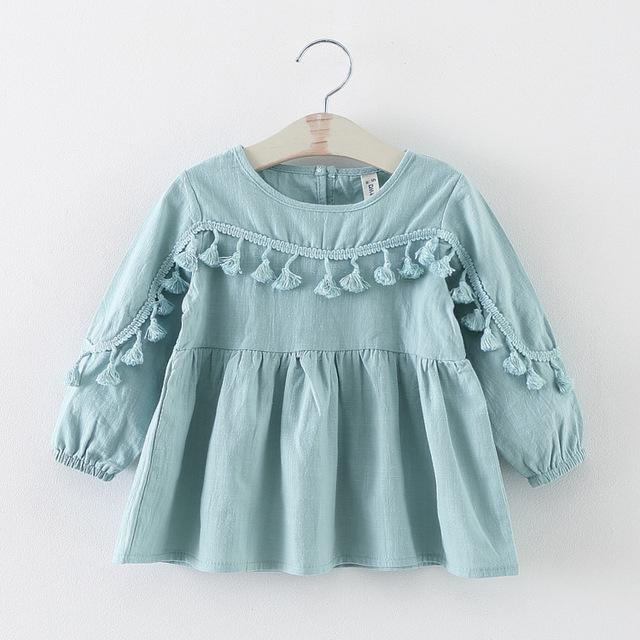Novo 2016 primavera outono borla vestidos de bebê menina roupas casuais criança girls party vestido terno 2 ~ 7 age recém-nascido vestido para meninas