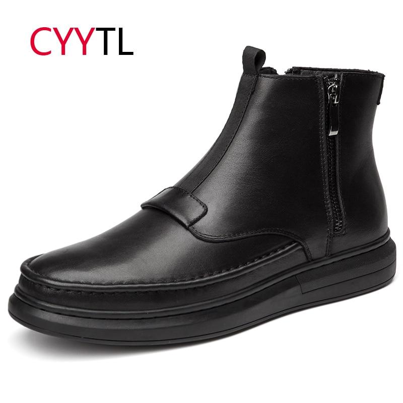 CYYTL Haute Qualité Hommes En Cuir Bottes Cheville Hiver Glissière Mâle Chaussures Chaudes Moto Travail Sécurité Zapatos de Hombre Botas Erkek bot